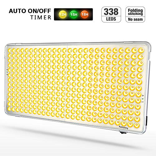 Relassy 300W LED Grow Light Panel - Auto On/Off Timer Function - 338 LEDs Reflector Sunlike Full Spectrum Plant Light for Indoor Plants Seeding Veg and Flower Commercial Planting - 2019 Updated