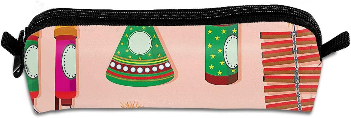 Pengyong Diwali Fire Crackers - Estuche Plano para lápices, con Cremallera, para cosméticos, Monedas, para niños, Adolescentes y Otros Suministros Escolares: Amazon.es: Hogar