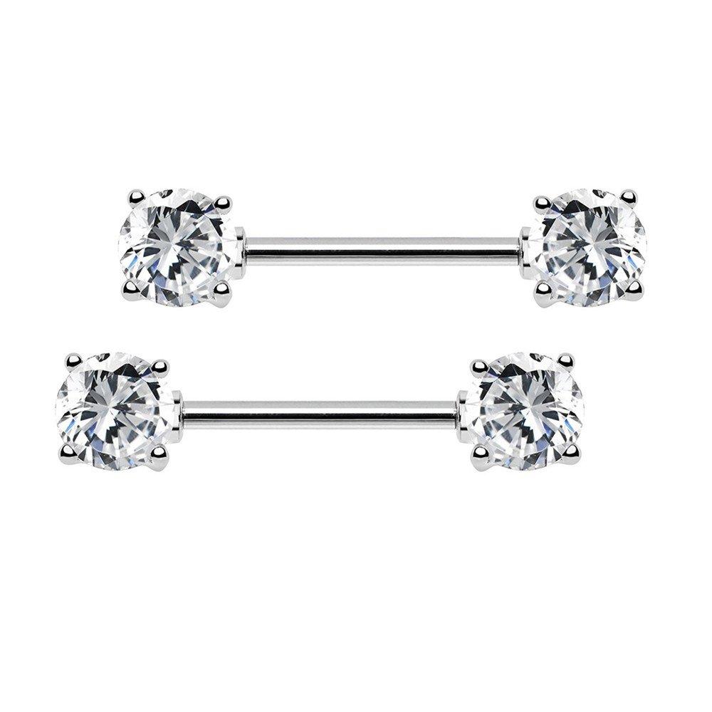 7mm Cubic Zirconia Stainles Steel Bar straight Nipple Ring Barbell body piercing jewelry BODYA 2pcs 14g 5mm
