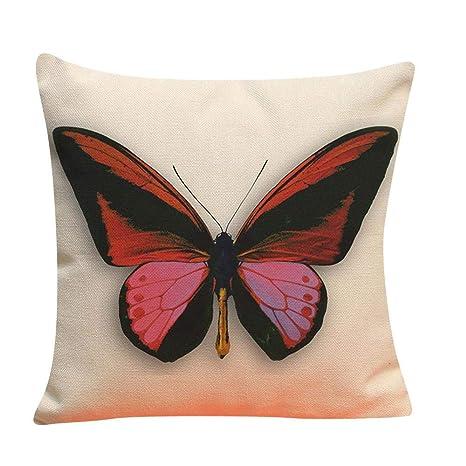 VJGOAL Retro Impresión Mariposa de Lino Suave Cojín Cuadrado Funda de Almohada Sofá Decoración para El Hogar(45_x_45_cm,Multicolor3)