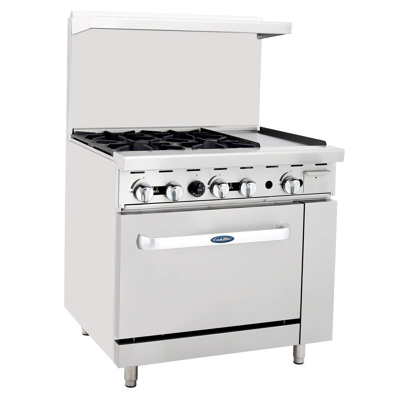 "CookRite ATO-4B12G Commercial Restaurant Griddle 4 Burner Hotplates Natural Gas Range With 12"" Manual Griddle On The Right Standard Gas Oven - 148,000 BTU"