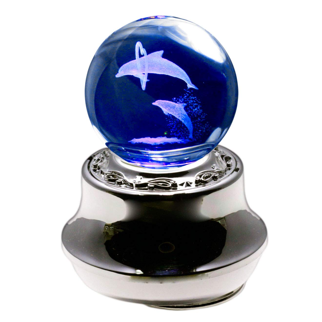 3Dレーザークリスタル 光るオルゴール ペアイルカ 曲目:星に願いを 誕生日プレゼント 女性 人気 プレゼント ギフト 母 女の子 サンキョー製 SANKYO LEDライト ゼンマイ式