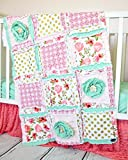 Floral Baby Girl Crib Quilt - Coral / Mint / Gold - QUILT ONLY