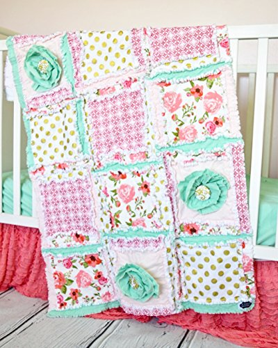 Floral Baby Girl Crib Quilt - Coral / Mint / Gold - QUILT ONLY by A Vision to Remember