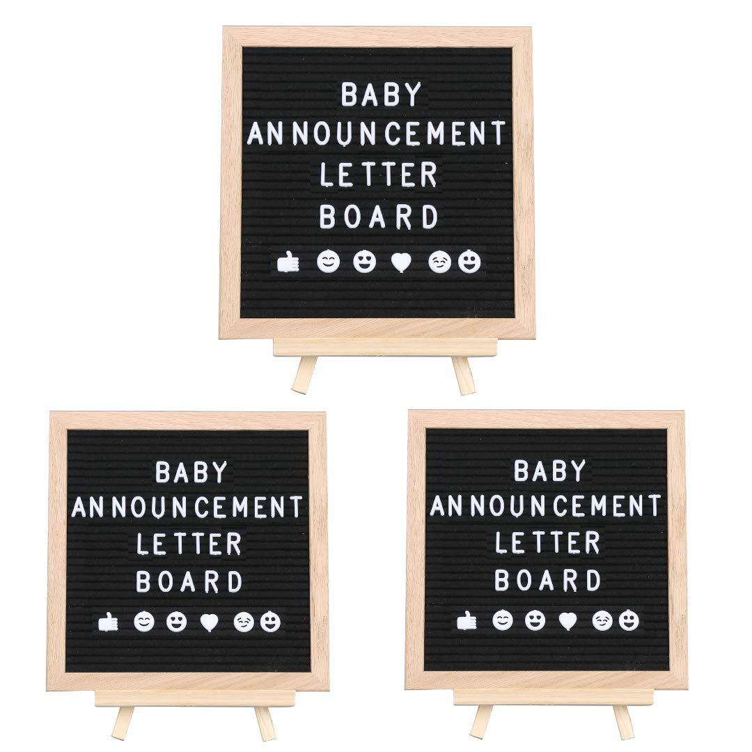 3-Pack Letter Board for Baby Announcement: Changeable Black Felt Letterboard for Milestones, Bridal and Baby Showers, Bonus Ebook 99 Baby Photo Ideas, 10 x 10 Inches, 290 Characters, Canvas Bag