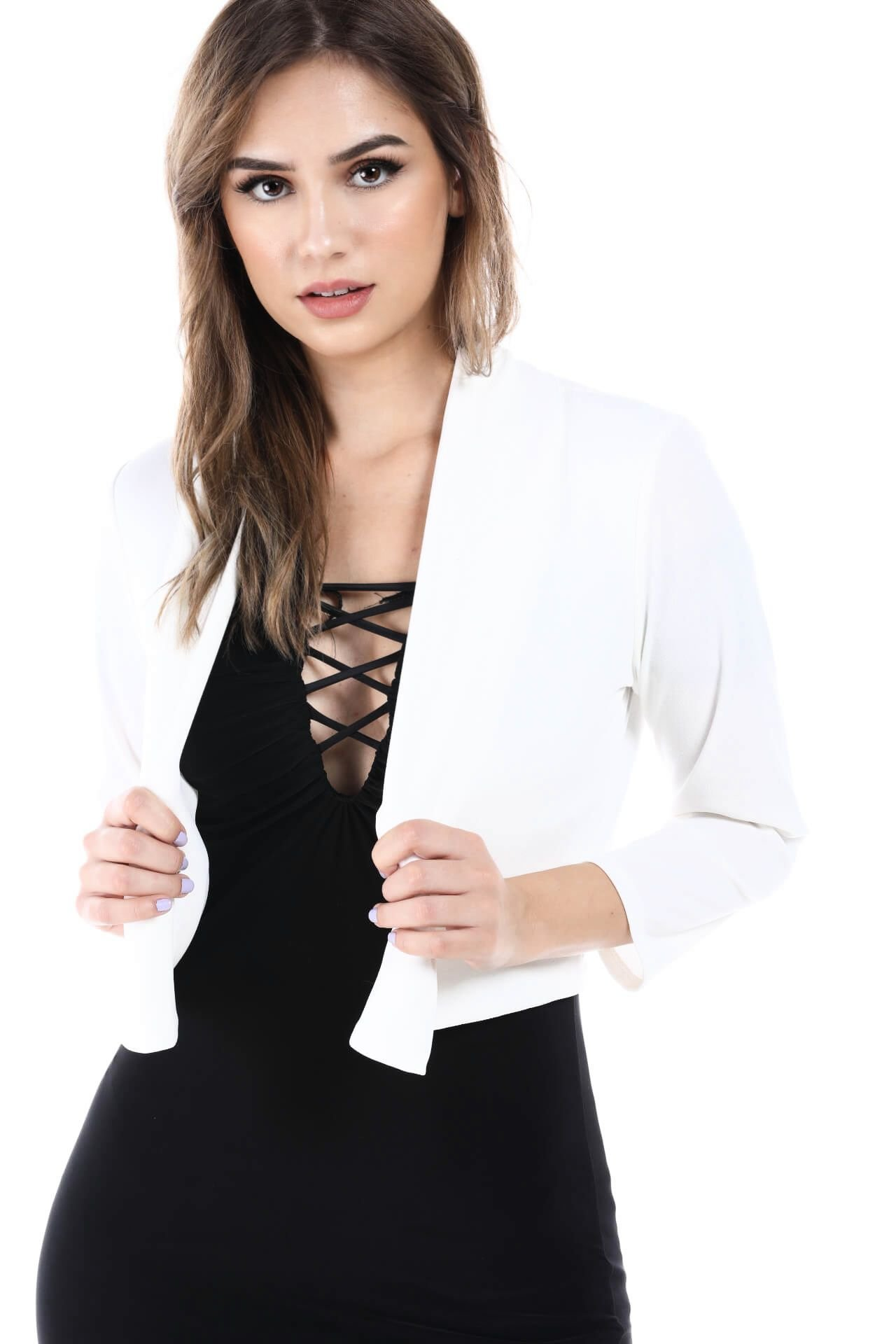 Women's Slim Fit One Button Office Knit Blazer Jacket,Made in USA (Small-3XL) (1XL, CropWhite)