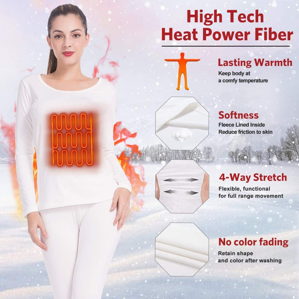 MANCYFIT Thermal Underwear for Women Long Johns Set Fleece Lined Ultra Soft Scoop Neck 2 Pack