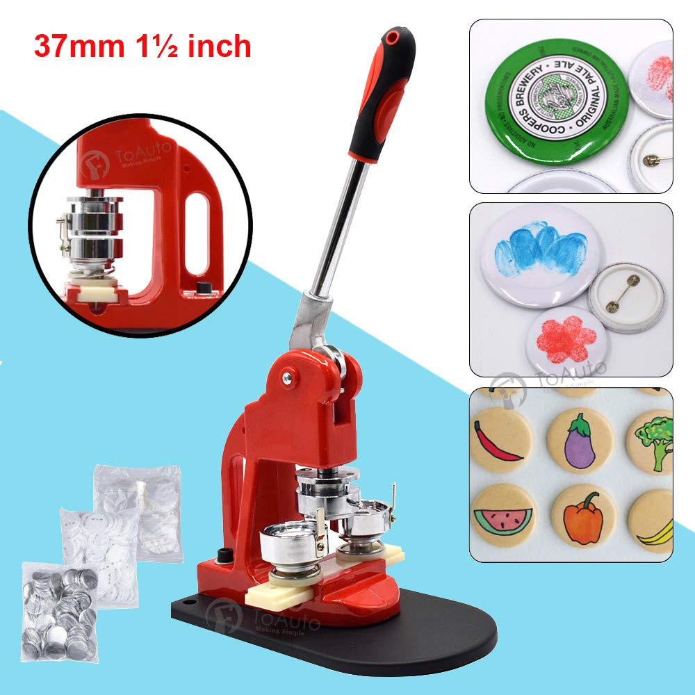 Red Button Maker Machine 37mm 1½ inch Button Badge Maker Pins Punch Press Machine Aluminum Frame 300pcs Free Button Parts + Circle Cutter (37mm 1½ inch) by FASTTOBUY
