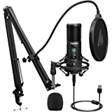 USB Microphone with One-Touch Mute and Mic Gain Knob MAONO AU-PM421 Professional Cardioid Condenser Podcast Mic for…
