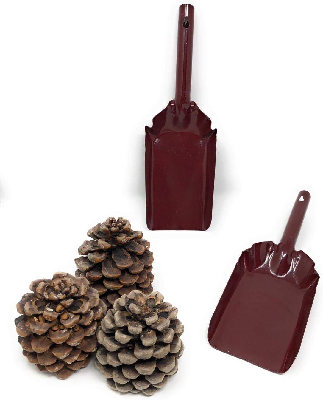 MGE Set de 2 Pala Met/álica para Chimenea y Barbacoa Hierro Esmaltado Vino Tinto