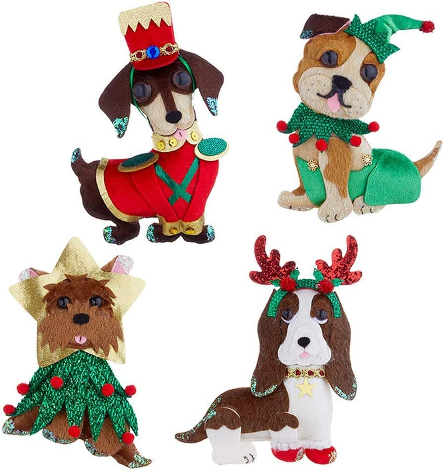 Rustic Felt Wool Dog with Gift and Festive Jumper Christmas Tree Xmas Decoration