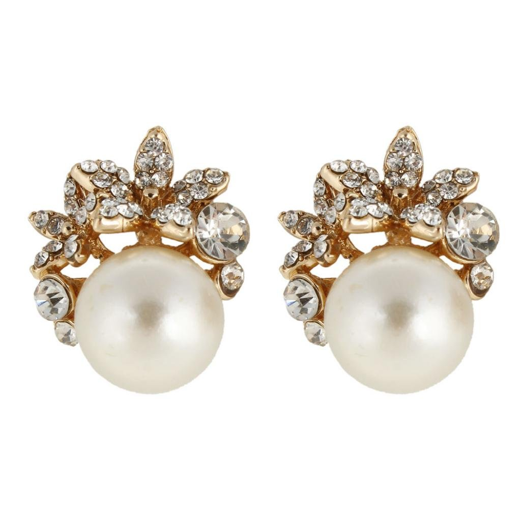 Ever Faith Bridal Silver-Tone Flower Simulated Pearl Stud Earrings Austrian Crystal Clear A07216-2