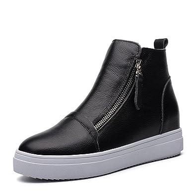 Damen Sneaker Reißverschluss Keilabsatz Aufzug Tragen Wärme High-Top Freizeit Gummisohle High-Top Trekking Schwarz-Samt 36 EU Schuhe YhFIi
