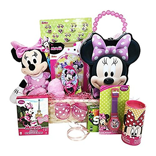 Easter Gift Basket for Kids Minnie Mouse Themed 10 Items In 1 Easter Basket With Novelties, Jewelry, Watch, Hair Accessories, Fun and Games