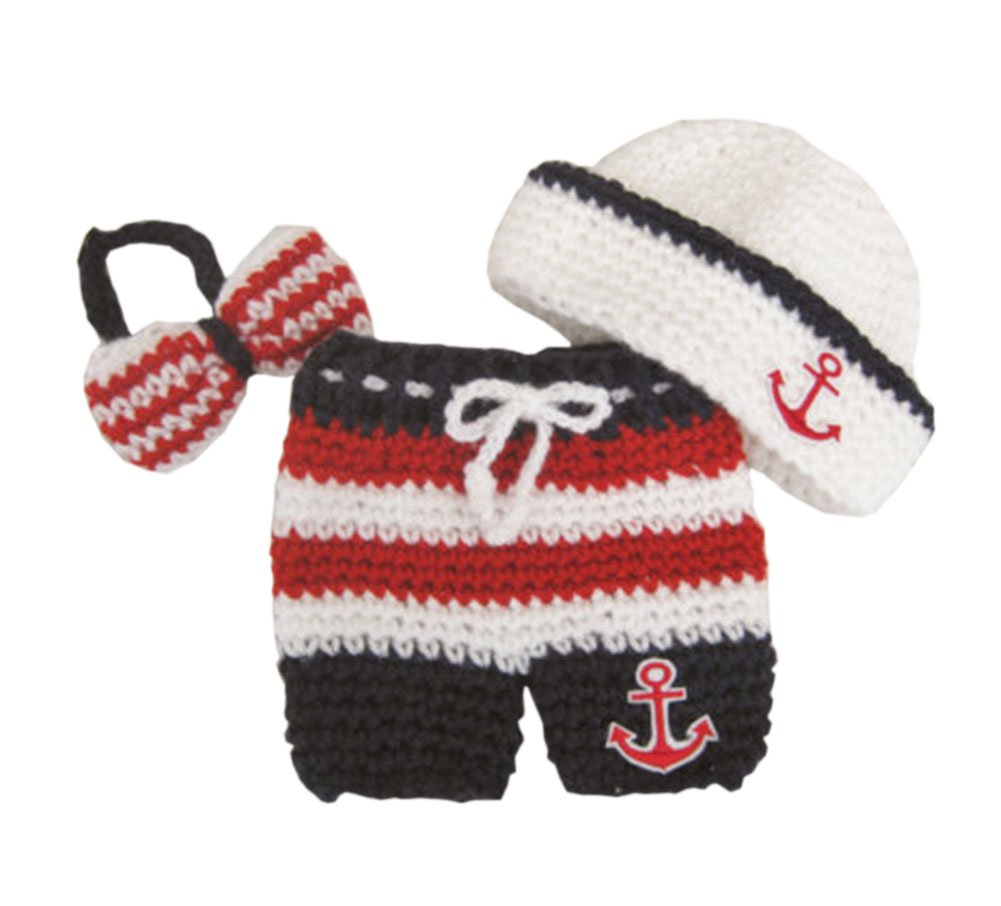 Pinbo® Newborn Baby Photography Prop Crochet Sailor Anchor Bow Hat Pants by Pinbo