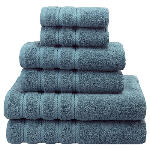 Premium, Luxury Hotel & Spa, 6 Piece Towel Set, Turkish Towels 100% Cotton for Maximum Softness and Absorbency by American Soft Linen, [Worth $72.95] (Colonial (Swedish Rag)