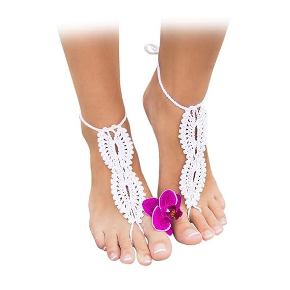 Vococal - 1 par Pies Descalzos Sandalias Zapatos Tobillera Pulsera de Ganchillo para Novia / Dama