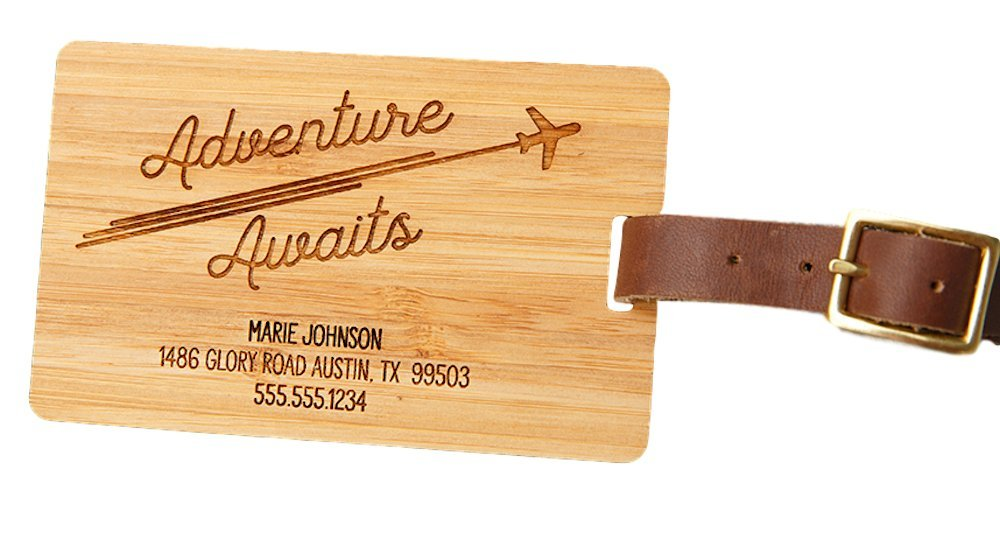 Personalized Wooden Luggage Tags 2.5'' x 4'' - Elegant and Durable Travel Suitcase Name Tags, Gift for Travelers Men and Women (1 Luggage Tag, Adventure Awaits Design) by Qualtry