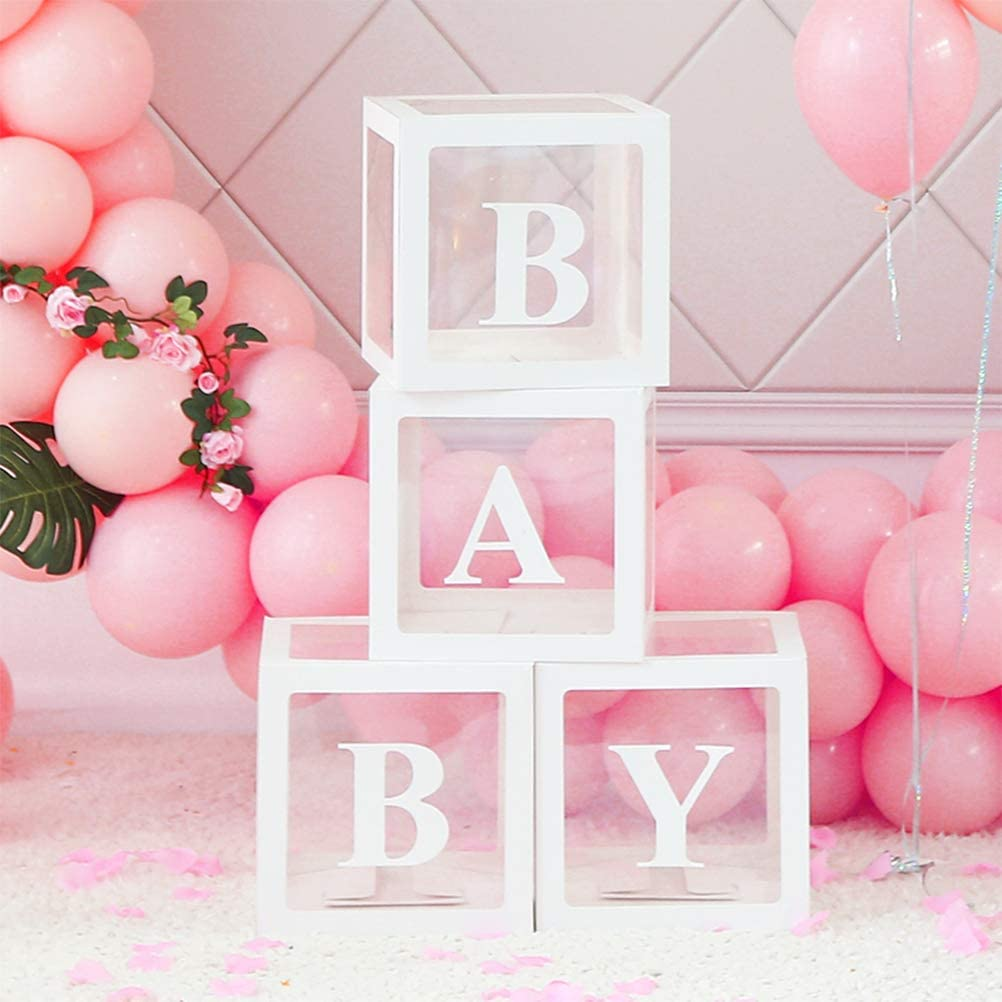 Baby Shower Boxes Party Decorations, 4-Pack Transparent Balloons Boxes Décor with BABY Letters Blocks for Boys Girls Baby Shower Decorations Gender Reveal Bridal Showers Birthday Party Backdrop