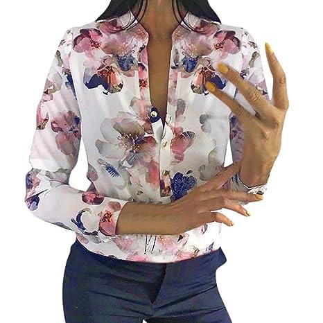 Camisa de mujer chic, cuello en V, manga larga, estampado flor ...