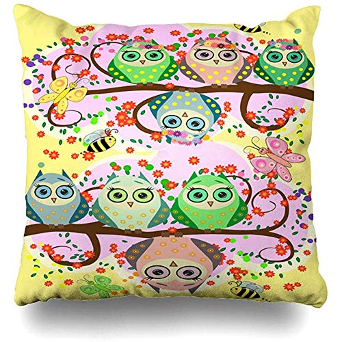 - Throw Pillow Cover Mommy Baby Bright Cartoonish Flirtatious Loving Owls Doll On Adorable Bird Branch Branche Design Childhood Home Decor Square 18x18 Inch Inch Cushion Case