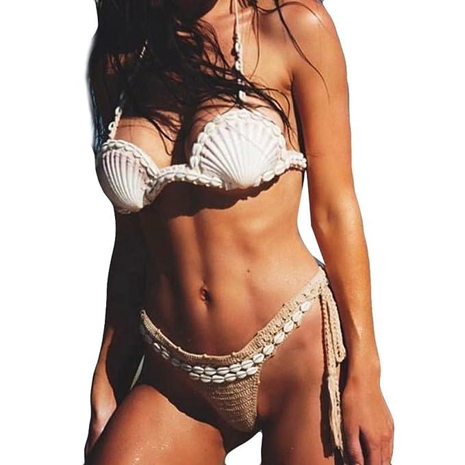8fd02ad126 VIASA  Bohemian Halter Bikini Women Crude Shell Handmade Braid Swimwear  Swimsuit Women s Seashell Bra (S