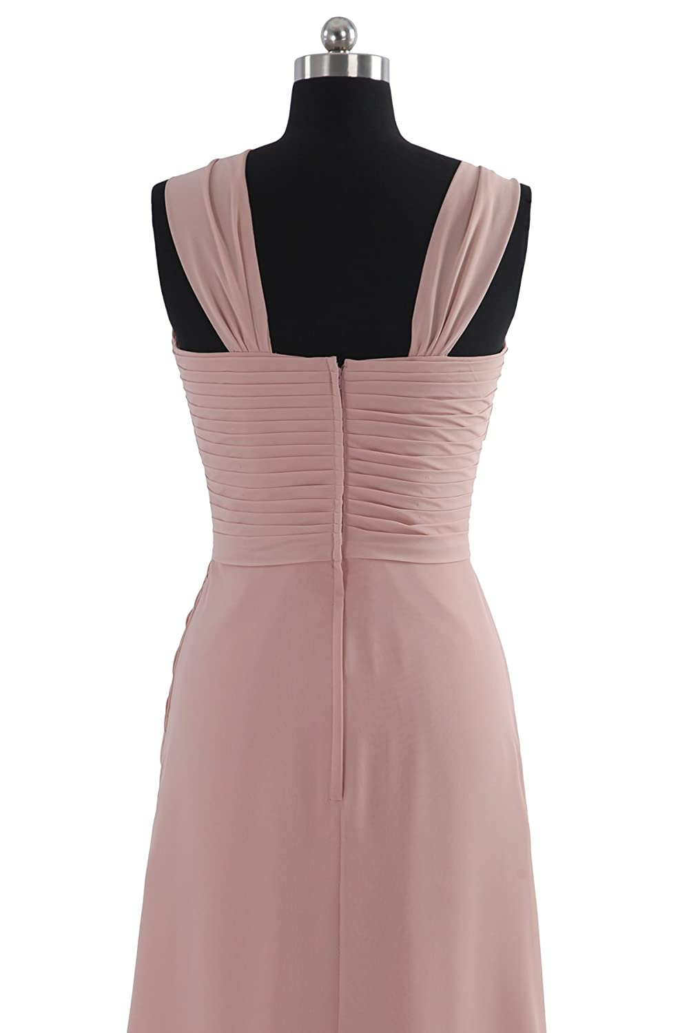 COCOMELODY Womens Halter Long Chiffon Bridesmaid Dresses COZF14020 Size: 10 Color: Pale Pink: Amazon.co.uk: Clothing