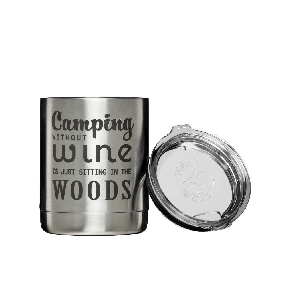 Camping Without Wine Is Just Sitting In The Woods Insulated vacuum sealed tumbler with lid (Stainless)