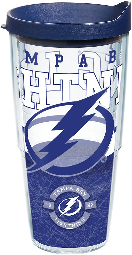 Tervis 1165414 NHL Tampa Bay Lightning Core Tumbler with Wrap and Navy Lid 24oz, Clear by Tervis