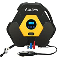 Audew Digital Tyre Portable Air Compressors, Tyre Inflator, 12V DC Cigarette Lighter Plug , 3 Meters Power Cord Tyre & Wheel Tools for Cars, Trucks, Bicycles or RVs, Auto, Basketballs up to 150 PSI