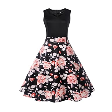 Dumanfs Women Vintage Floral Print Patchwork Sleeveless Casual Party Prom Swing Dress (L2, Black