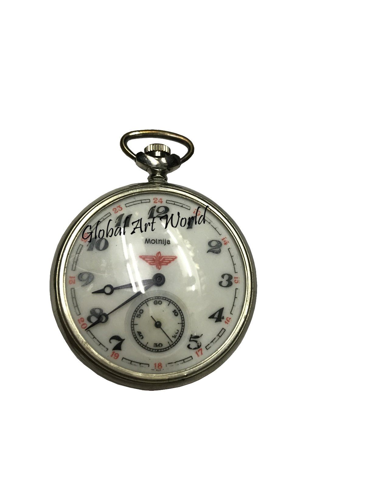 Global Art World Soviet Mechanical Antique Time Piece Vintage Collectible Pocket Watch Molnija Serkis Of Ussr 1989 With Manual Winding HB 0234