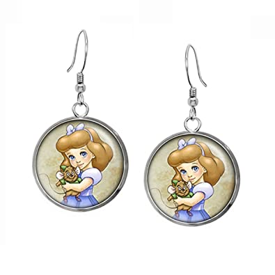 12449e945 Amazon.com: Young Cinderella Earrings, Disney Princess Cinderella Pendant,  Child Prince Charming Necklace, Disney's Princesses Kids Jewelry Set, ...
