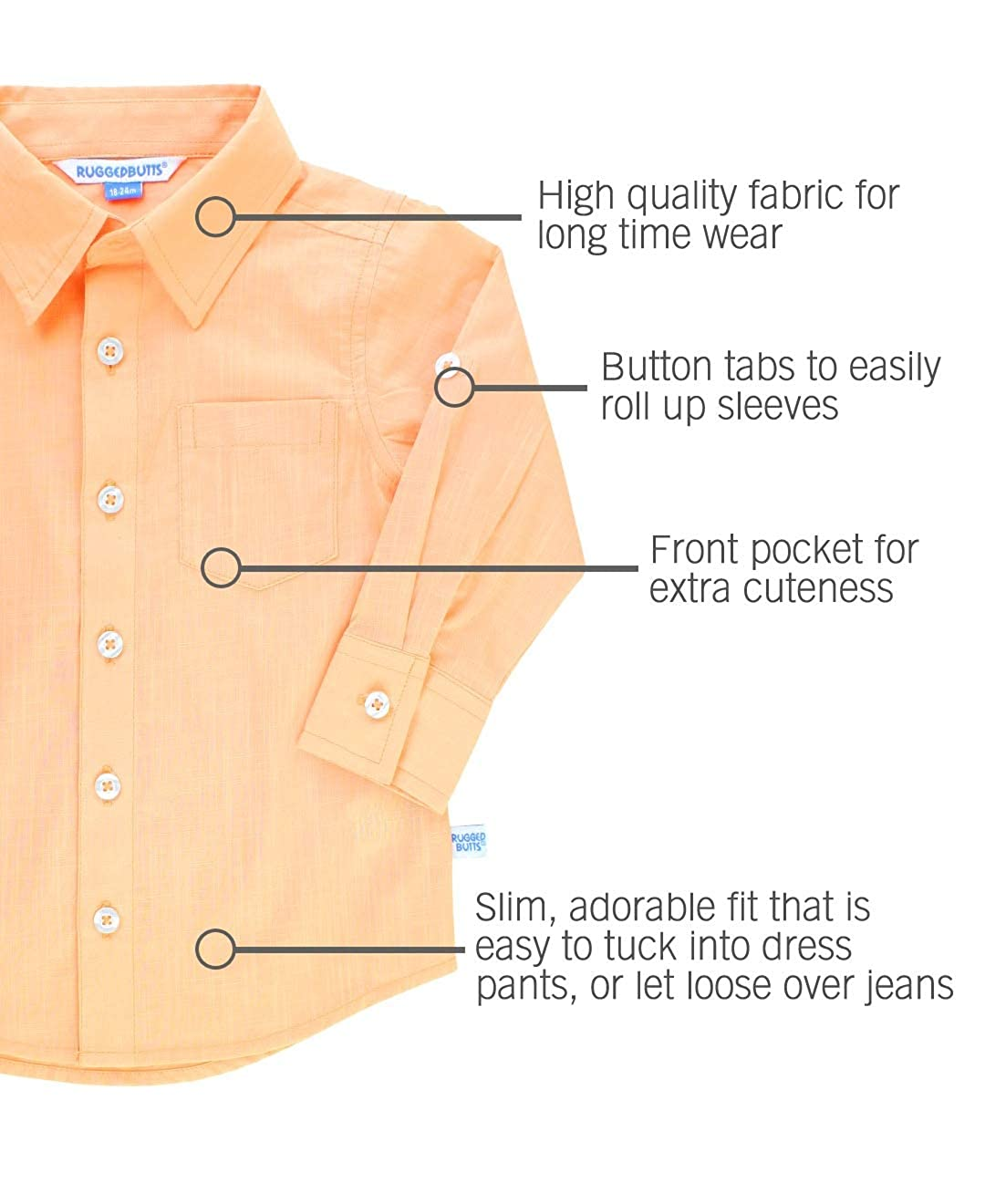 b1283906 Amazon.com: RuggedButts Baby/Toddler Boys Solid Cotton Long Sleeve Button  Down Shirt with Button Tabs: Clothing