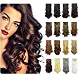 FESHFEN 20Inch 7Pcs 16Clips Full Head Clip in Hair Extensions Long Curly Synthetic Hair Extensions Hairpieces for Women 130g(1# Off Black)