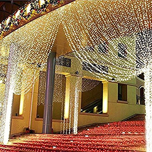 ZSTBT Linkable 304LED 9.84ft9.84ft/3m3m Window Curtain String Lights Icicle Fairy Lights Party Wedding Home Patio Lawn Garden Decorations (Warm White) (Outdoor Wedding Lights compare prices)