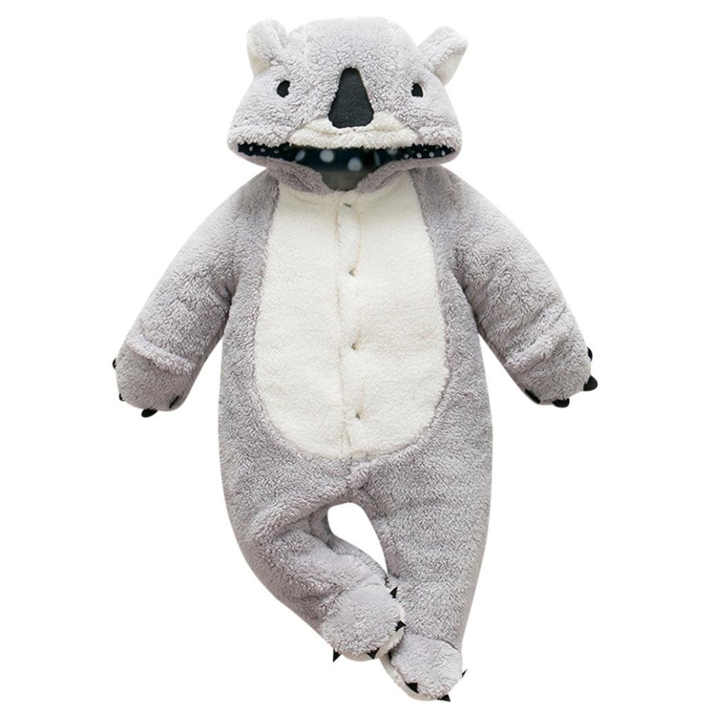 Fossen Grueso C/álido Mamelucos con Capucha Animal de Dibujos Animados Mono Ropa para Reci/én Nacido Beb/é Ni/ños Ni/ñas 0-18 Meses Ropa Bebe Invierno