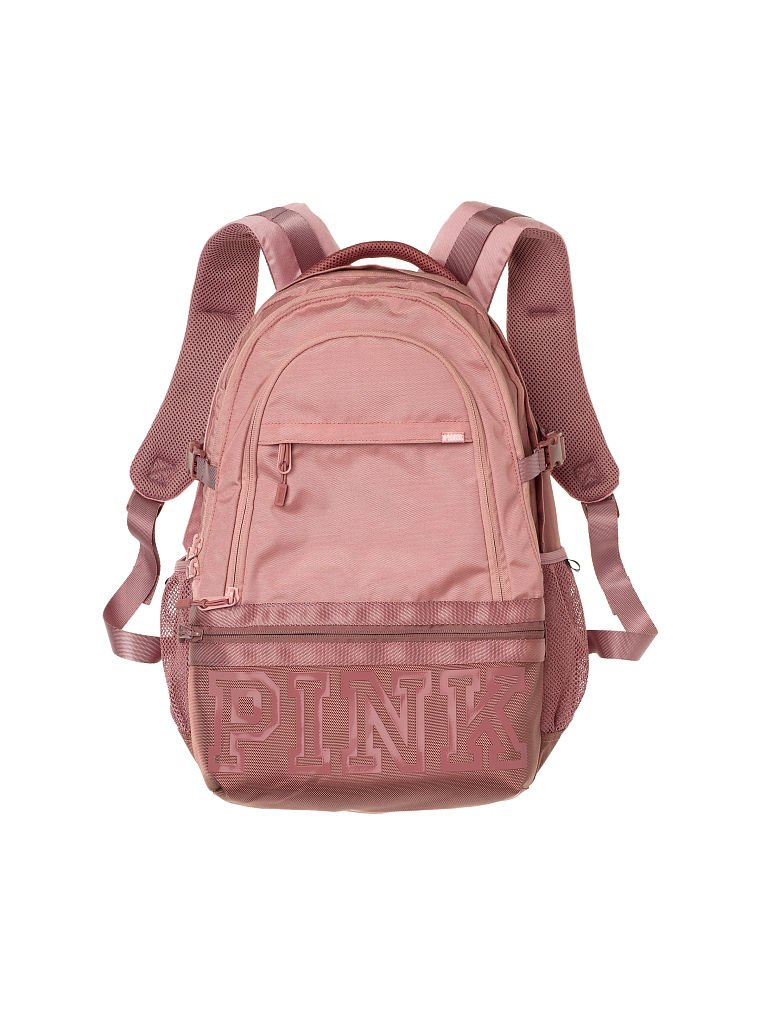 Victorias Secret Pink Collegiate Backpack NEW Color Perfectly Pink With Cocoa Powder