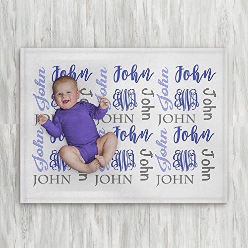 Personalized Baby Name Blanket - Blue - Frame - 30 X 40 - Plush Fleece Swaddle - Baby Boy Bedding - Cute Floral - Birth Announcement - Baby Shower Gift