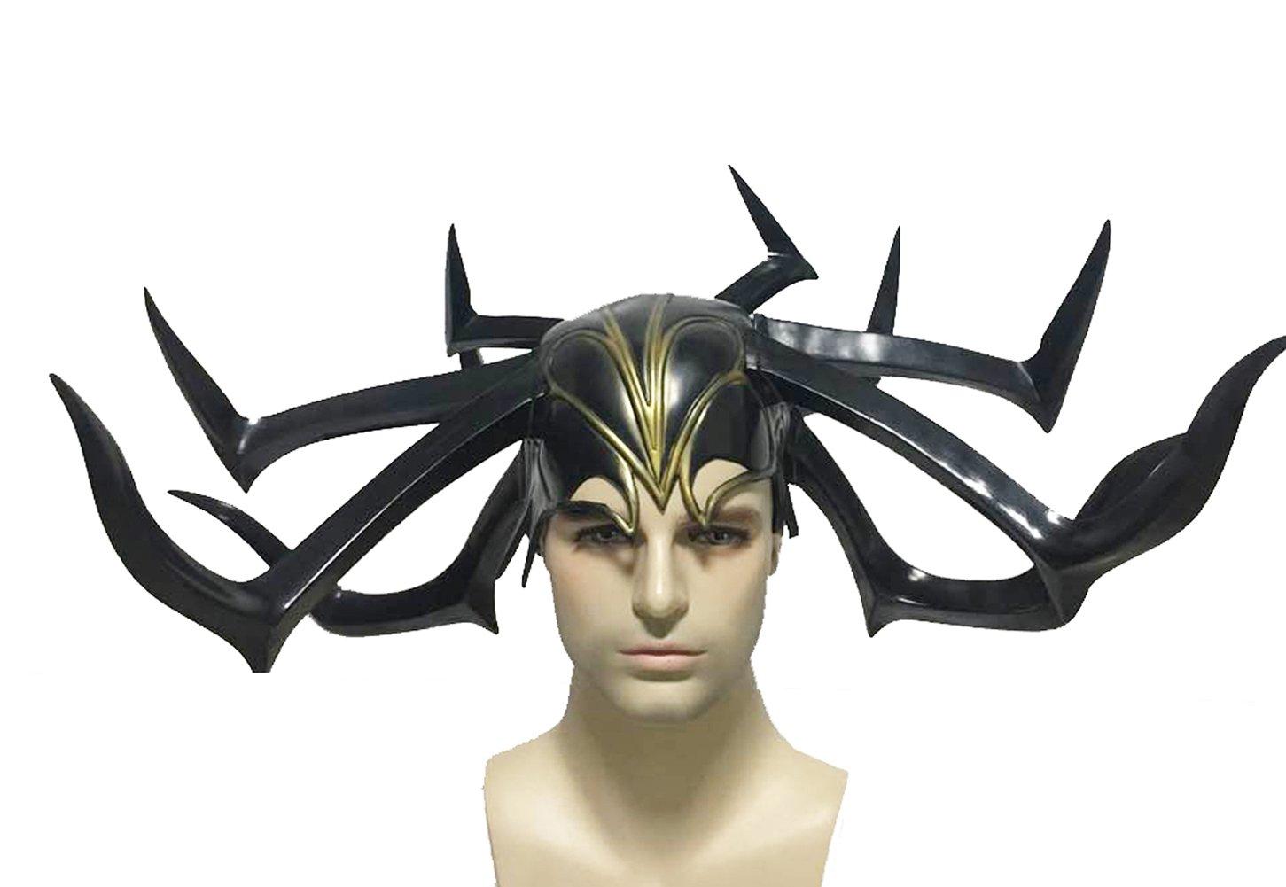 xcoser Hela Helmet Womens Headwear Cosplay Costume Halloween Black Mask Accessory