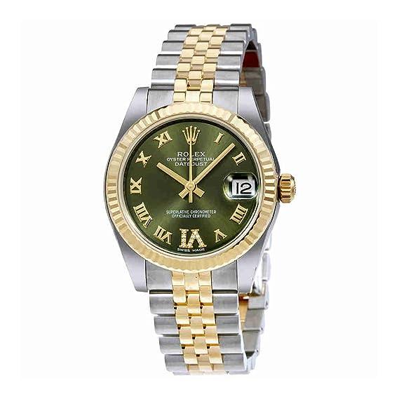 Rolex Datejust Verde Dial de la mujer reloj 178273