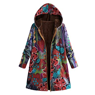 cdf9b040993 JOFOW Womens Flannel Lined Jacket Parka Hooded Gradient Graffiti Dye Print  Warm Hippie Long Loose Coats