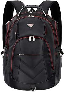 Laptop Backpack 18.4 Inch,SOCKO Nylon Water-Resistant Durable Travel Bag Hiking Knapsack Rucksack Backpack College Shoulder Back Pack for 18-18.4 Inches Laptop Notebook Computer, Black