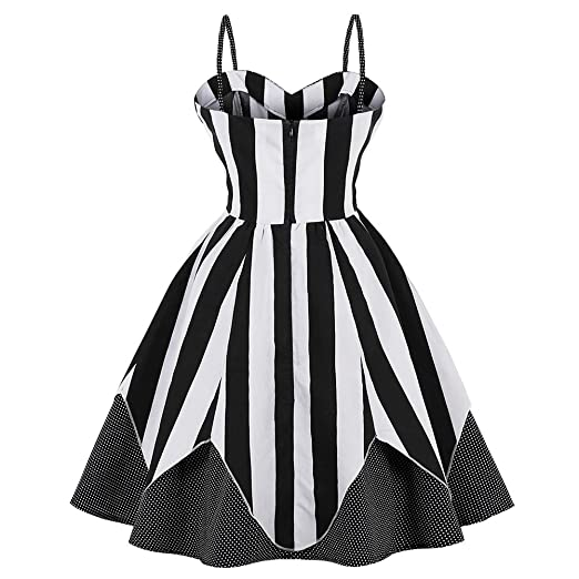 iShine Womens 50s Plus Size Vintage Spaghetti Strap Sleeveless Party Cocktail Dresses Retro Stripe Skater Swing Dress: Amazon.co.uk: Clothing