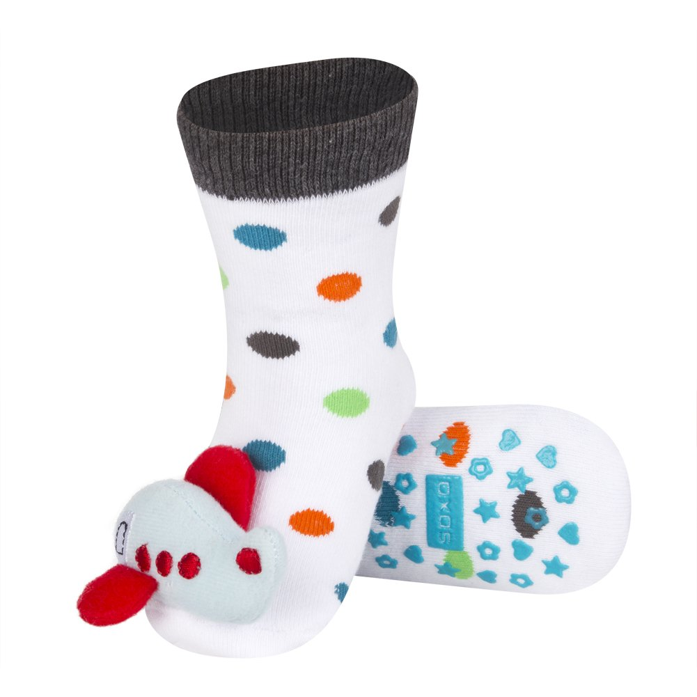 SOXO baby's SOCKS with a beautiful RATTLE High Quality Colorful Cotton
