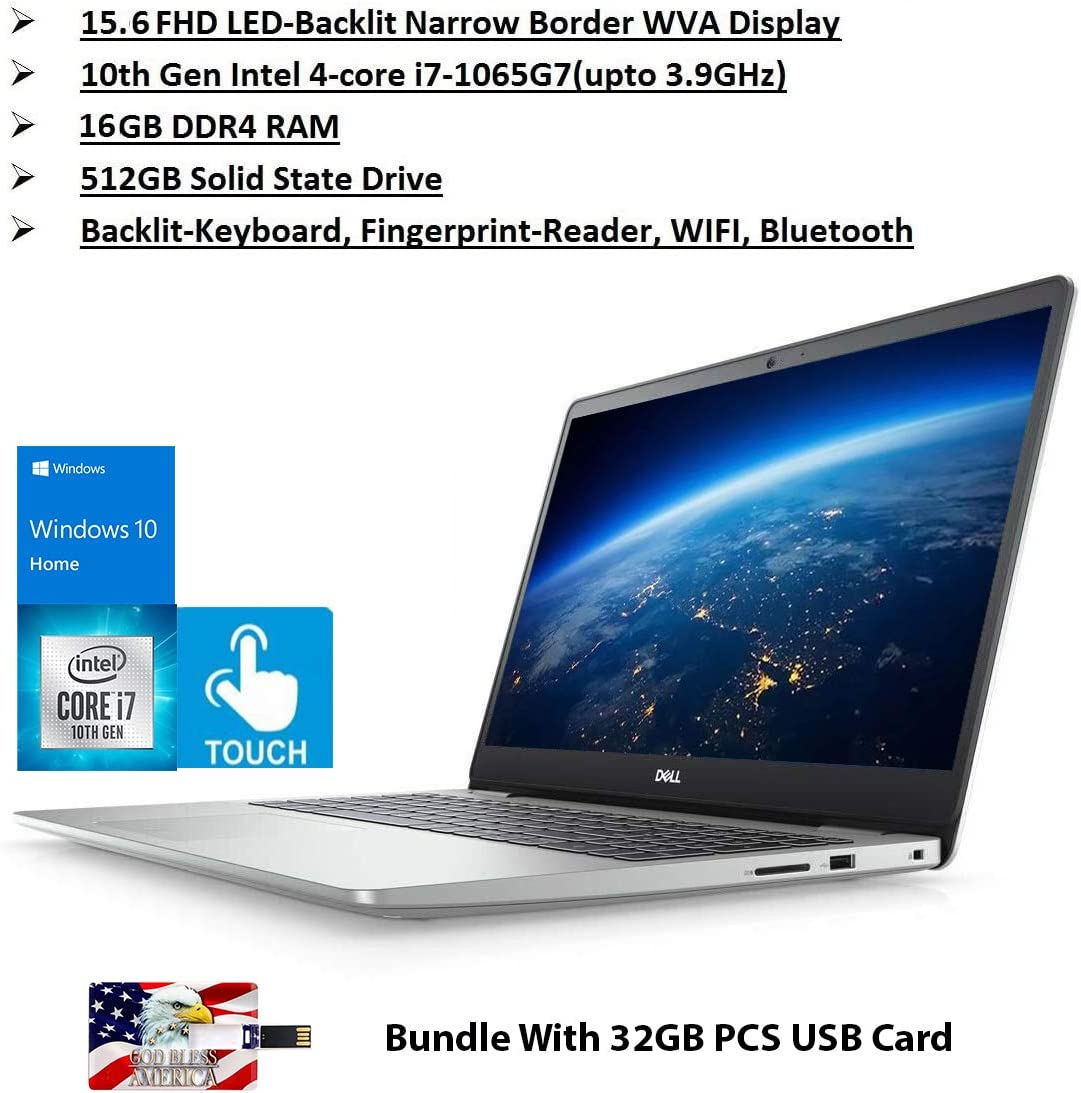 2020 Newest Dell Inspiron 15 5000 Premium Laptop: 15.6 Inch FHD Touchscreen 10th Gen Intel i7 16GB RAM, 512GB SSD WiFi Bluetooth HDMI Backlit-KB FP- Reader Win10 32GB PCS USB Card