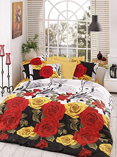 - LaModaHome Flora Duvet Cover Set, Red and Yellow Roses, Harmony of Flowers, Colorful - 100% Cotton - Set of 3 - Duvet Cover and 2 Pillowcases for Full Bed