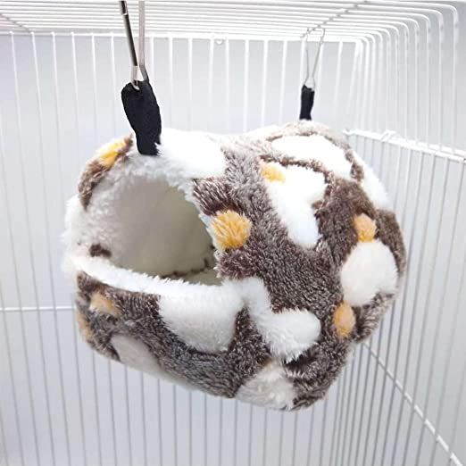 SEIS Hamster Love Pattern Hammock Chinchillas Warmth Supplies Small Pets Cotton Nest Rat Nest Mat for Squirrel Hedgehog Guinea Totoro Pig Bed House Cage Nest Hamster Accessories (Brown, L)