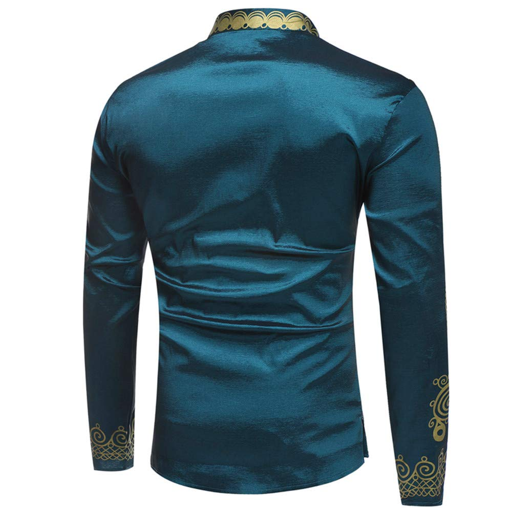 3ce4eae3b Toimothcn Men's African Style Print Long Sleeve 1/4 Zipper Dashiki Shirt  Top Blouse at Amazon Men's Clothing store: