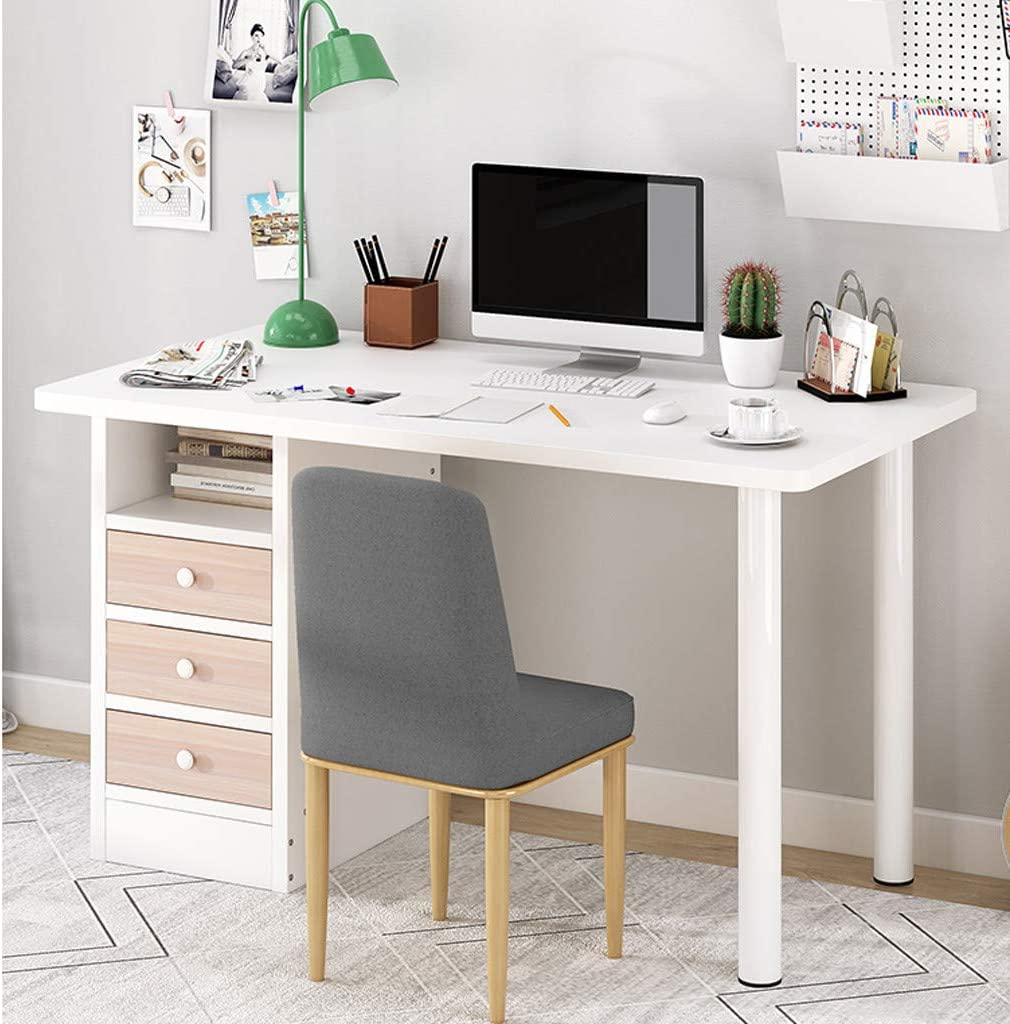 Yasoon Computer Desk for Home Office, Kids Study Writing Table with 3 Drawers and 1 Open Cabinet Door, Modern Simple Study Table with Large Desktop - Round Steel Tube Legs (White)